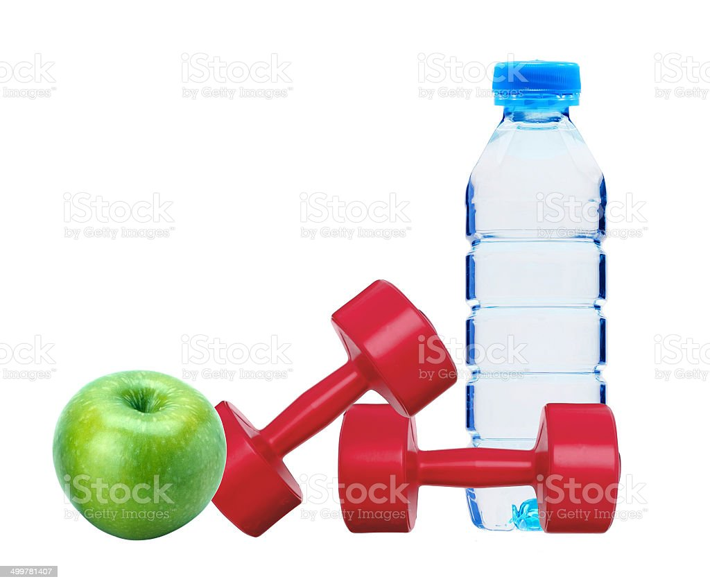 red dumbbells fitness, green apple and bottle of water isolated stock photo