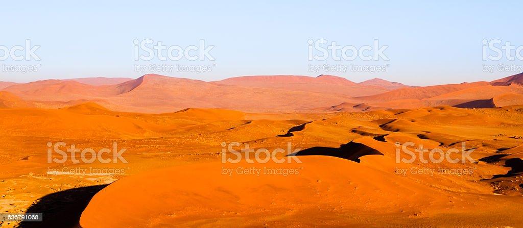 Red dunes of Namib Desert near Sossusvlei, aka Sossus Vlei stock photo