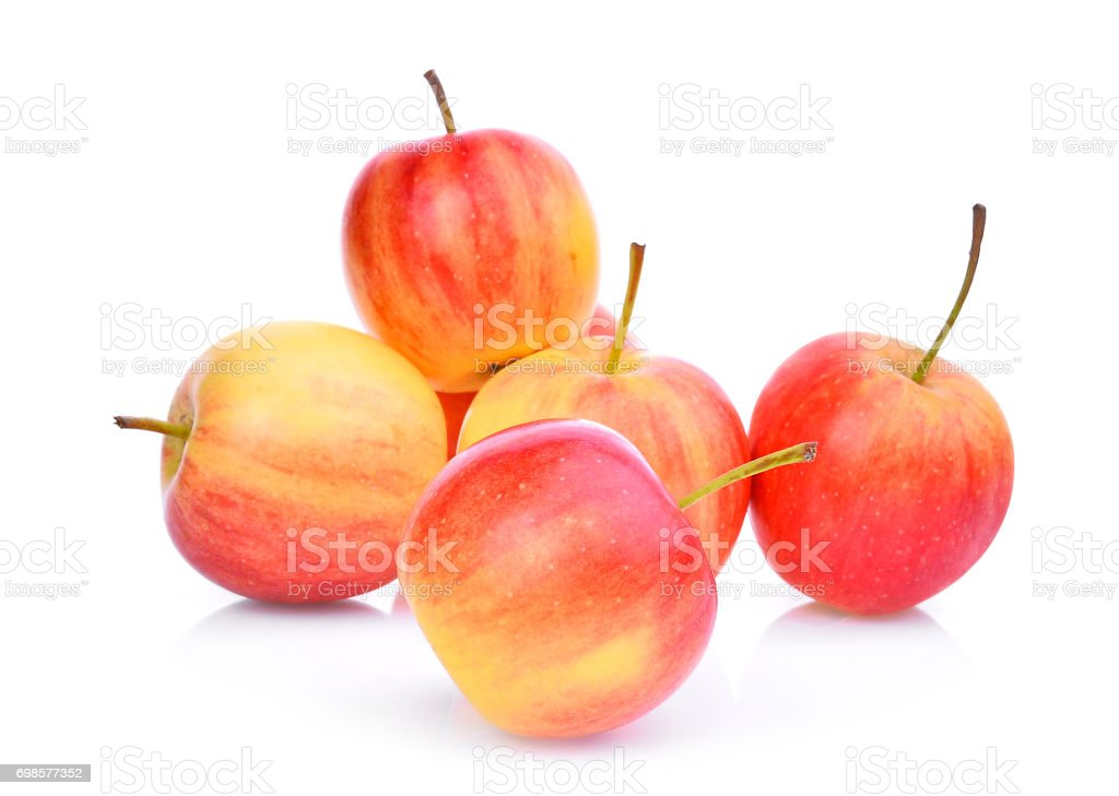 red dwarf apples isolated on white background stock photo