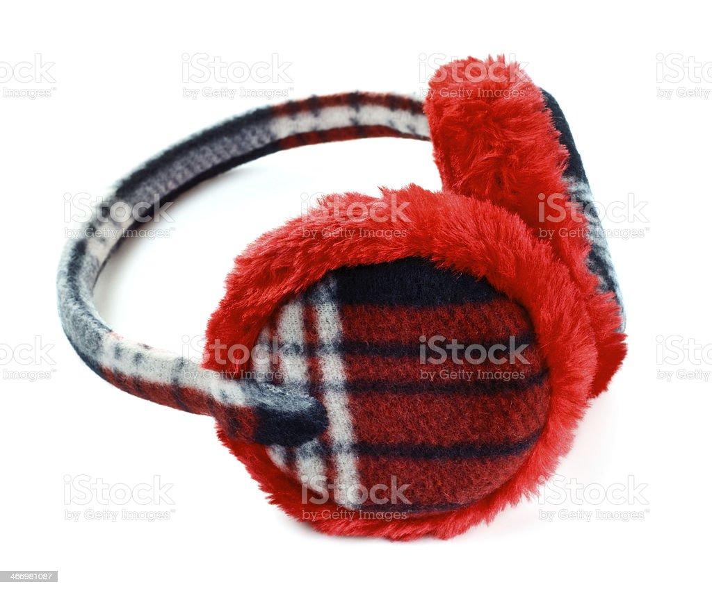 red earmuff stock photo