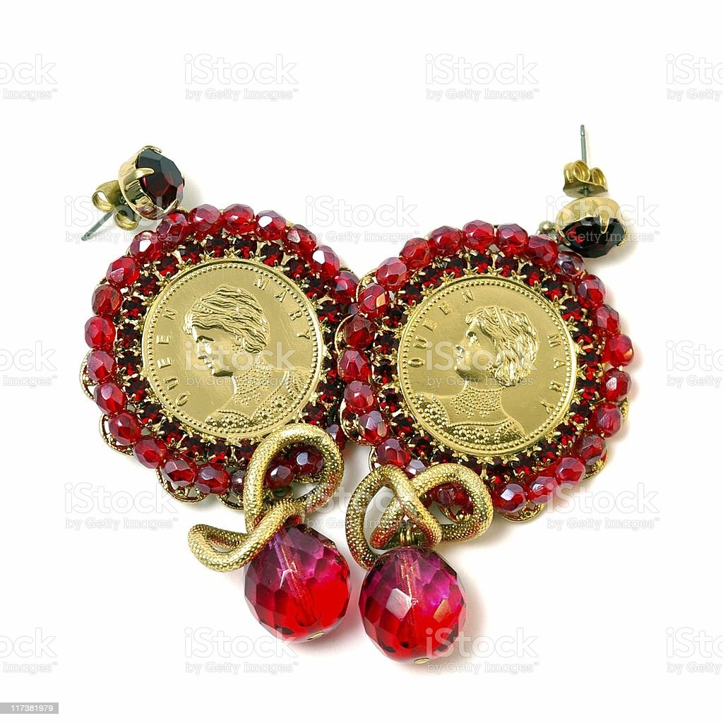 Red earrings stock photo