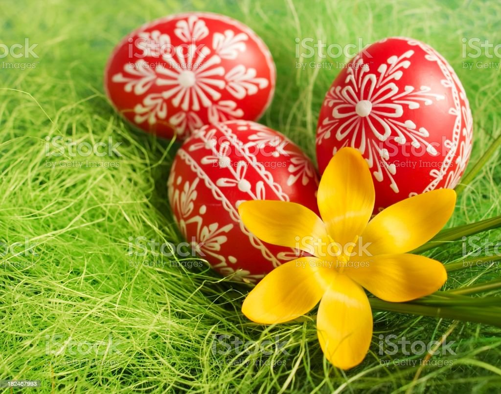 Red Easter eggs stock photo