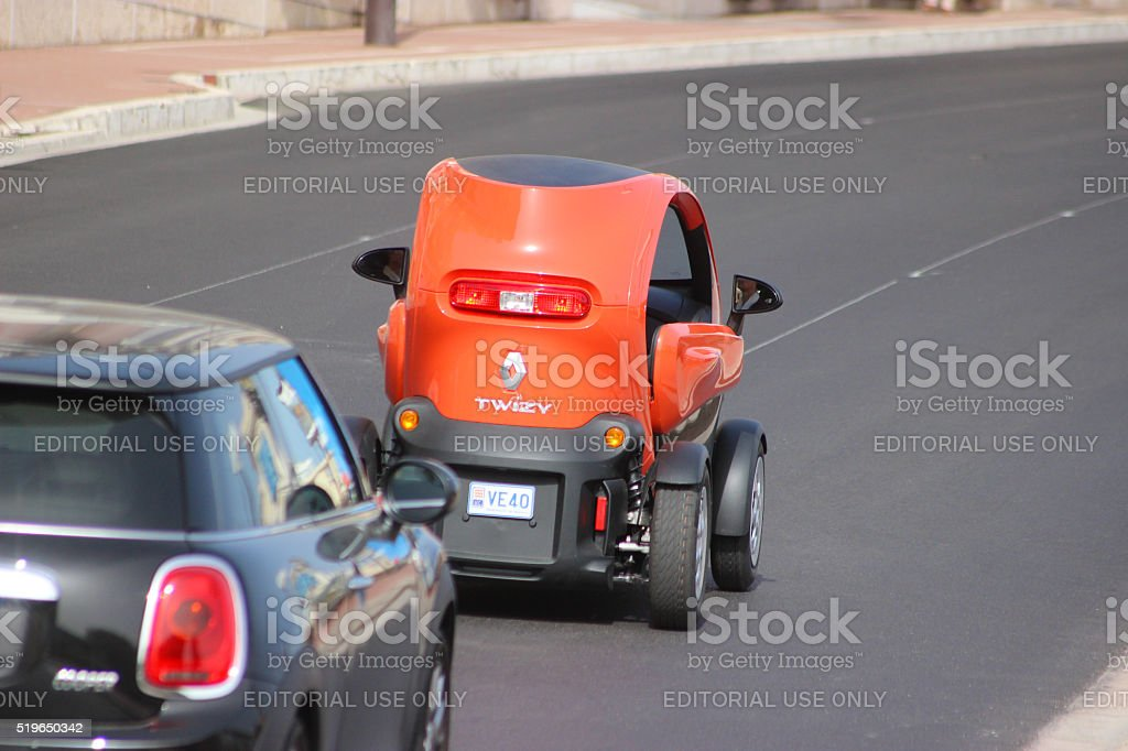 Red Electric Car Renault Twizy (Rear View) in Monte-Carlo, Monac stock photo