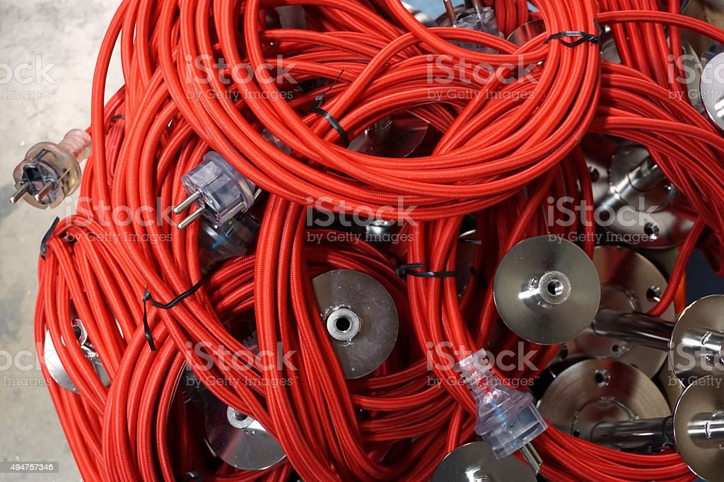 red electric wire stock photo
