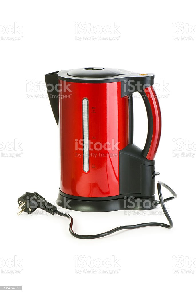 Red electrical kettle isolated on white royalty-free stock photo