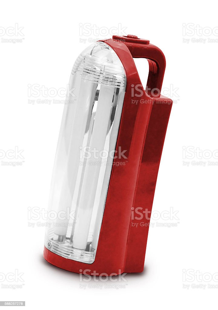 Red electrik latern on white background stock photo