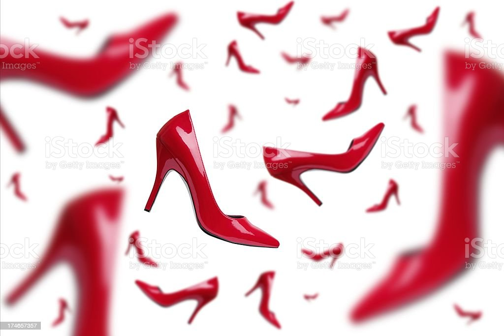 Red Elegant Falling Shoes royalty-free stock photo