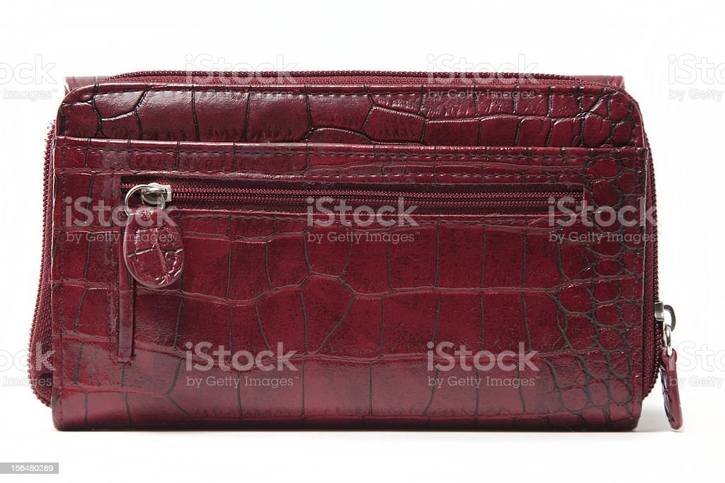 red elegant leather purse stock photo