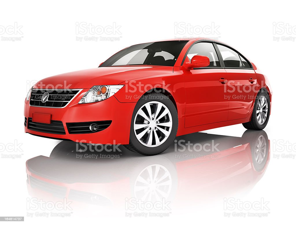 Red elegant sedan car stock photo