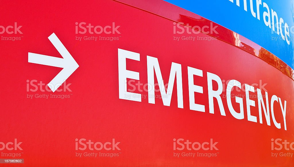 A red emergency room sign for a hospital stock photo