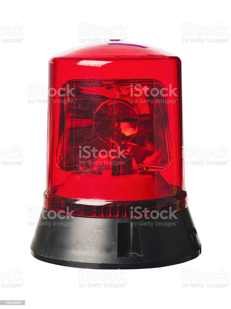 red Emergency siren warning light stock photo