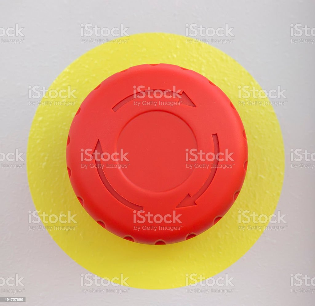 Red emergency stop button stock photo