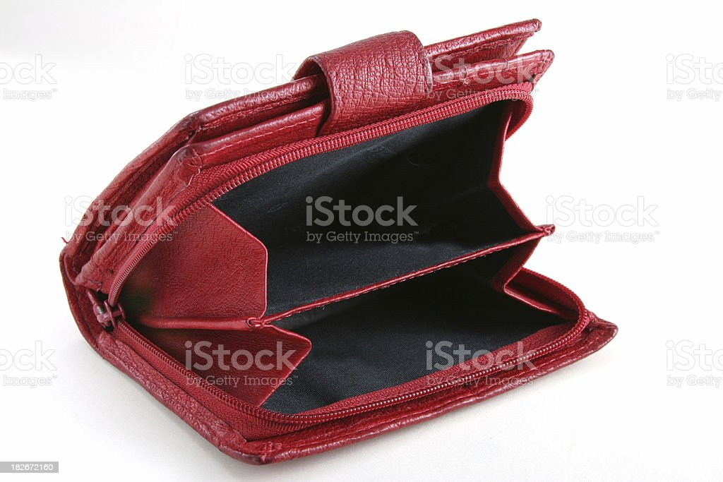 red empty purse stock photo