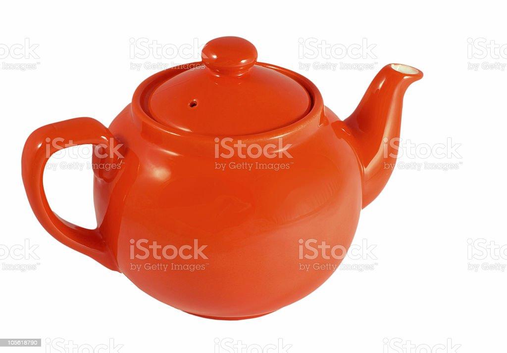 Red english teapot on white background royalty-free stock photo
