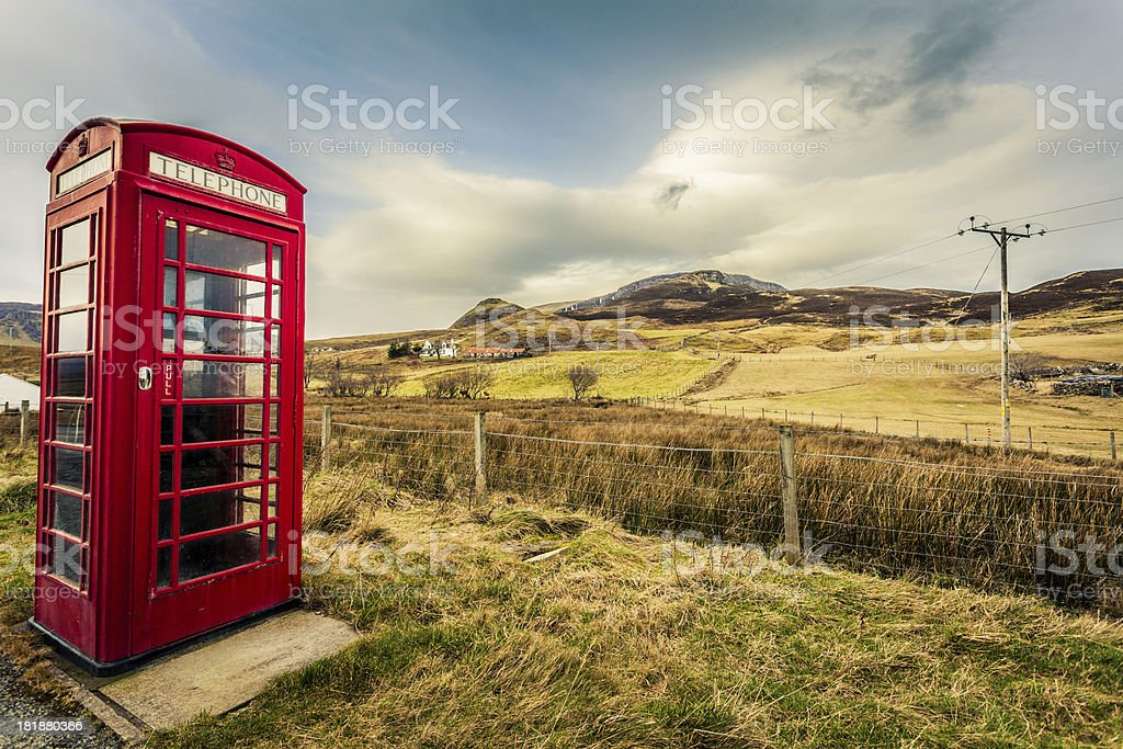 Red English Telephone Booth in the Nowhere, Scotland stock photo