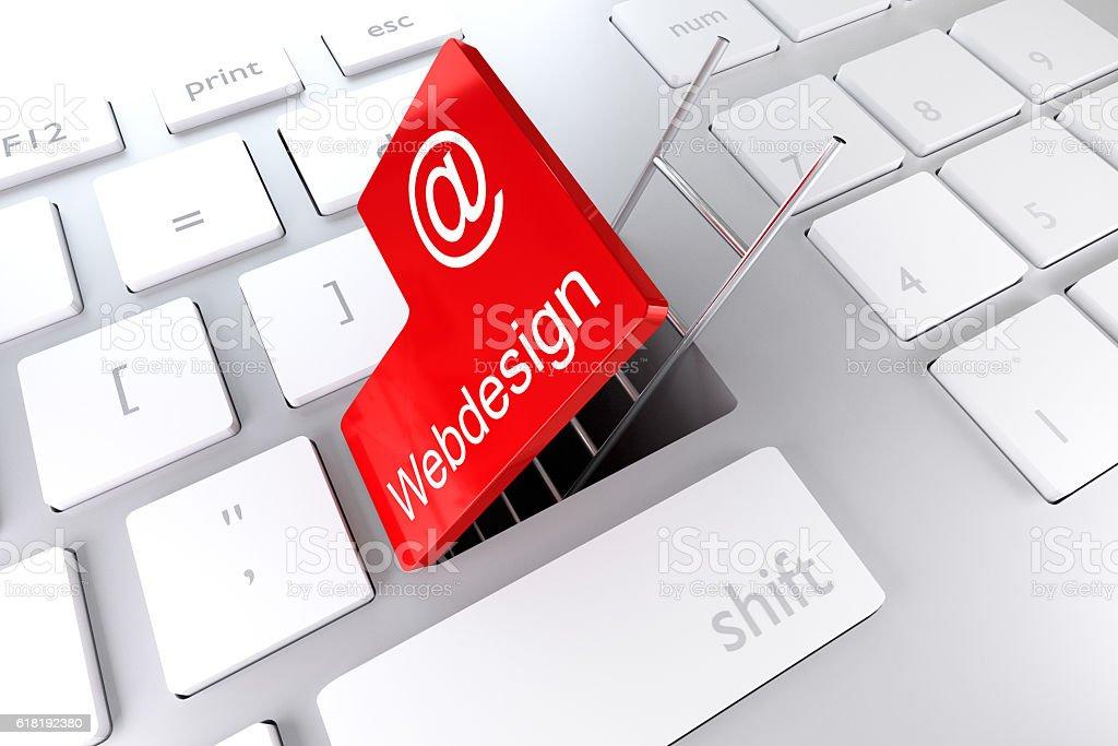 red enter key ladder webdesign 3D Illustration stock photo