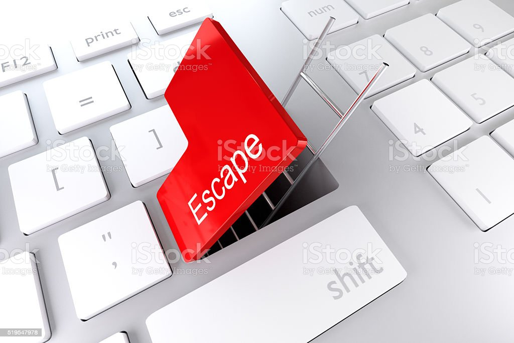 red enter key open with ladder in underpass escape stock photo