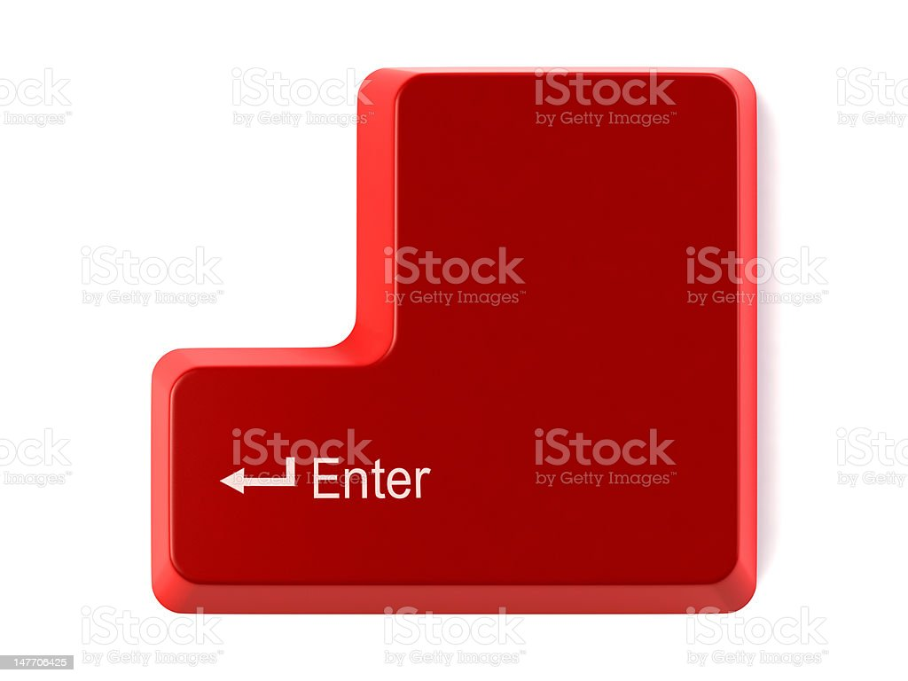 Red enter key stock photo