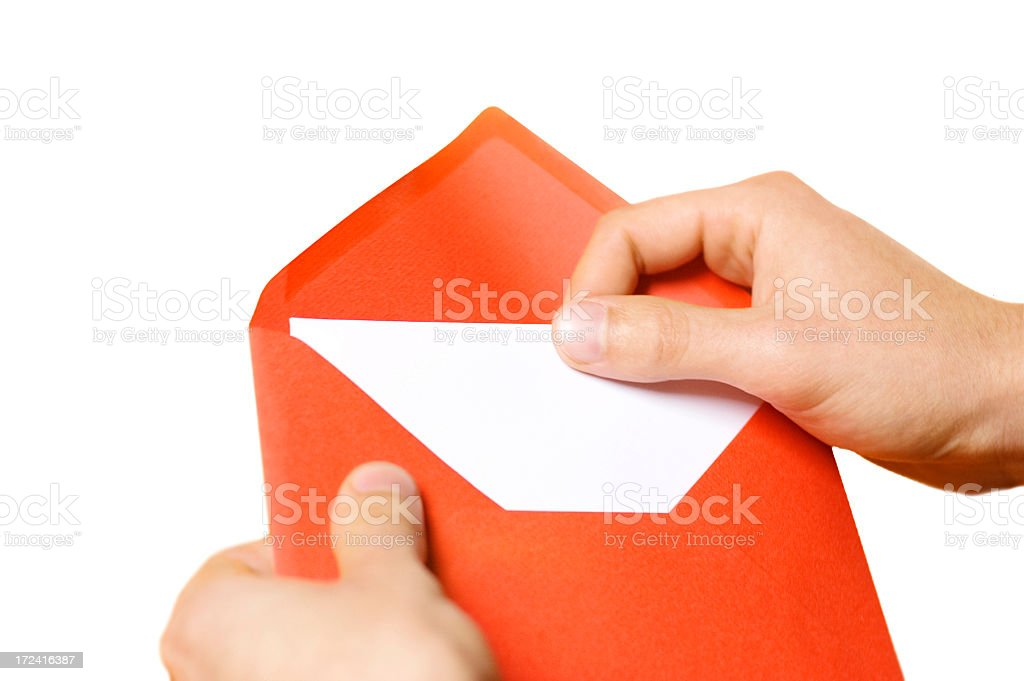 Red Envelope & White Paper, isolated royalty-free stock photo