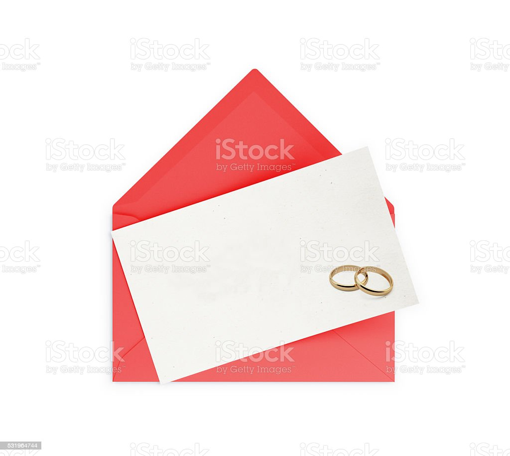 Red Envelope and Empty Wedding Invitation stock photo