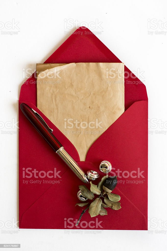 Red Envelope, Christmas letter, white background and ornaments stock photo