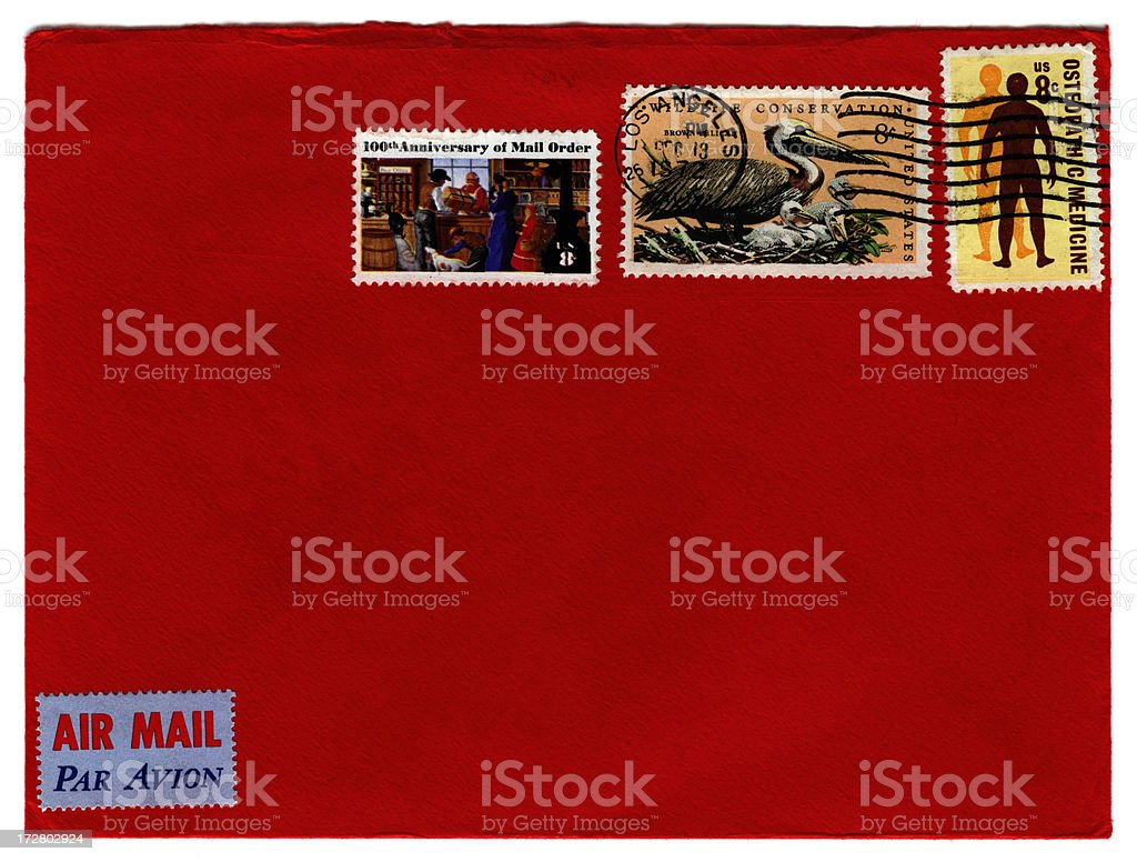 Red envelope from Los Angeles royalty-free stock photo