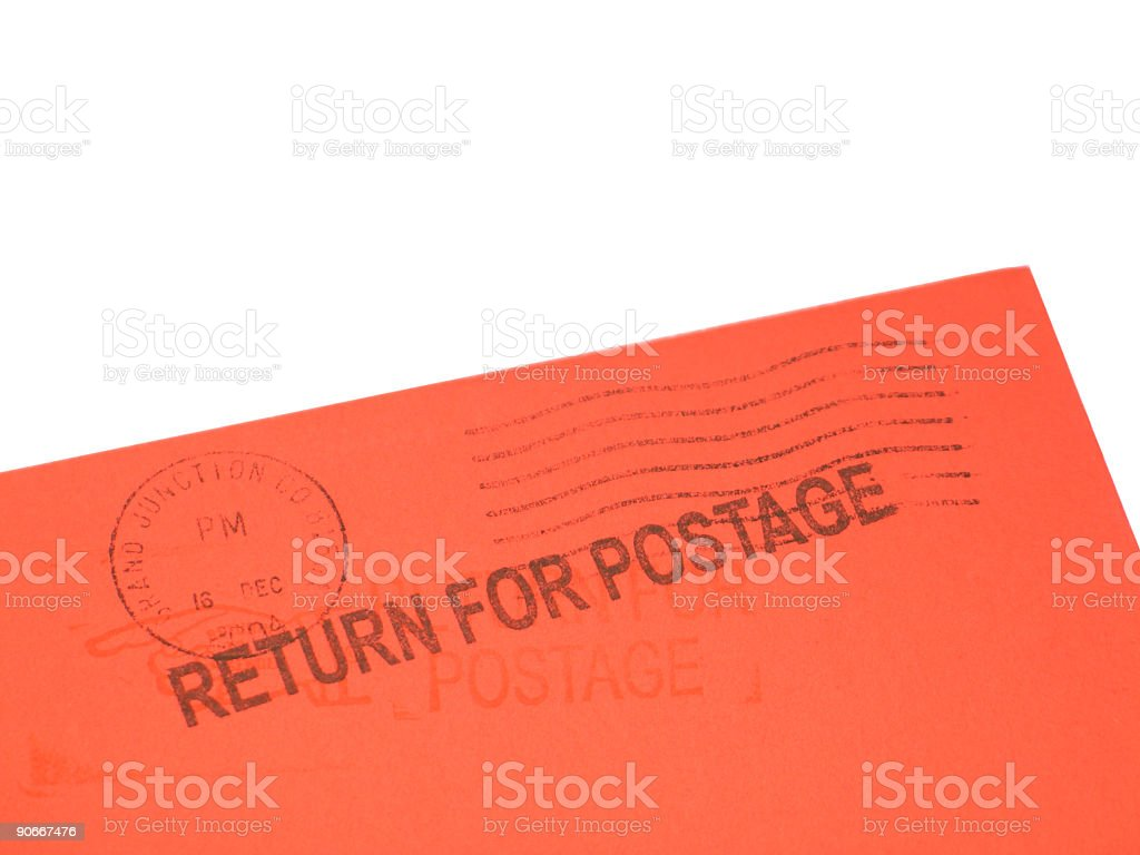 "Red Envelope Missing Stamp Marked ""Return for Postage' stock photo"