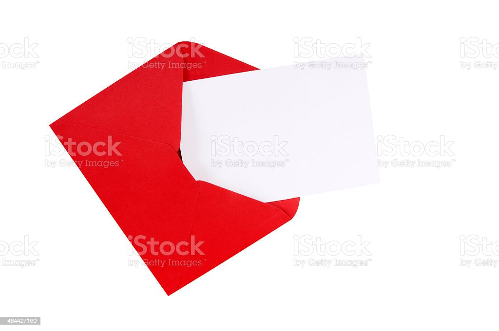 Red envelope with blank white greeting card stock photo