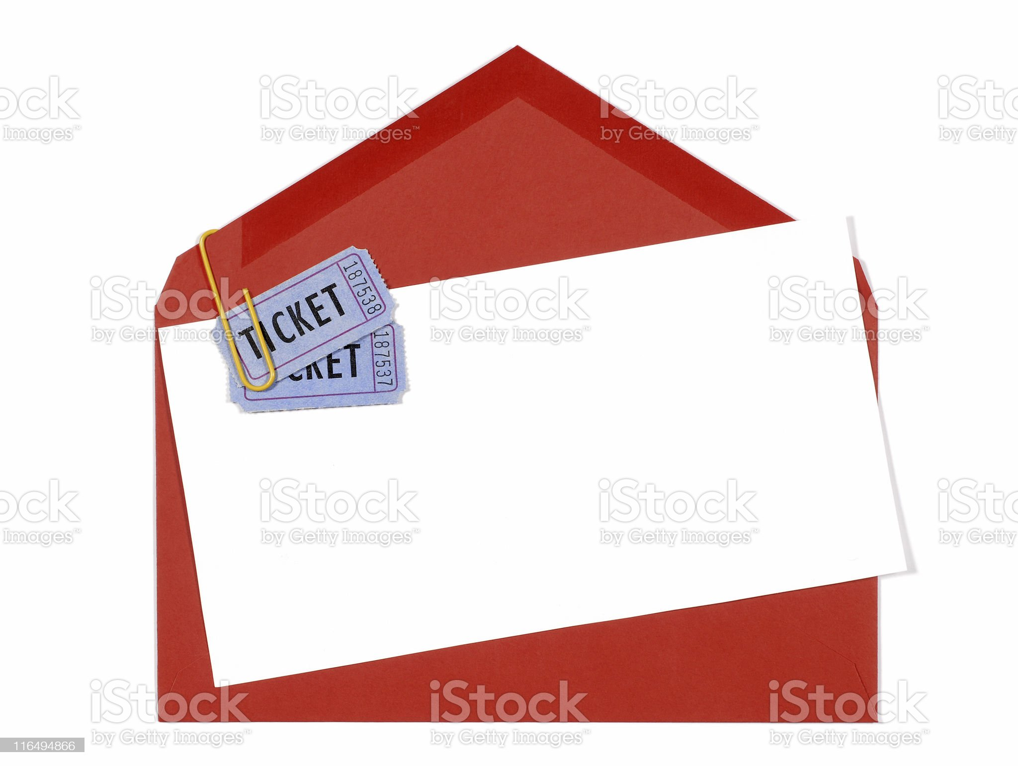 Red envelope with blue theater tickets royalty-free stock photo
