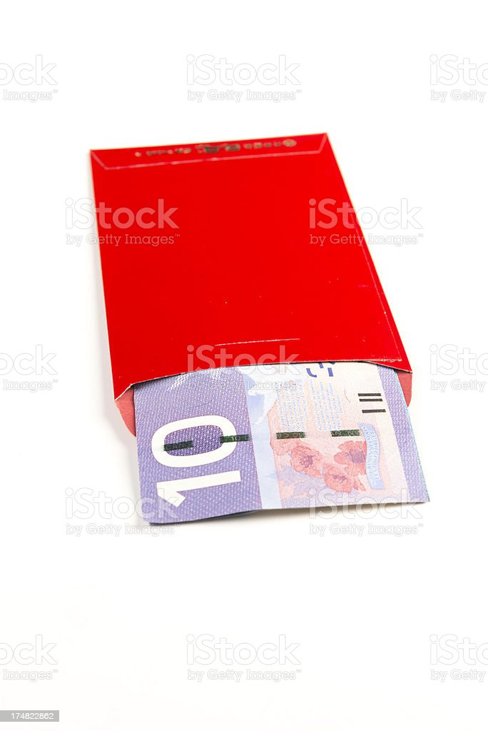 Red Envelope With Canadian Currency stock photo