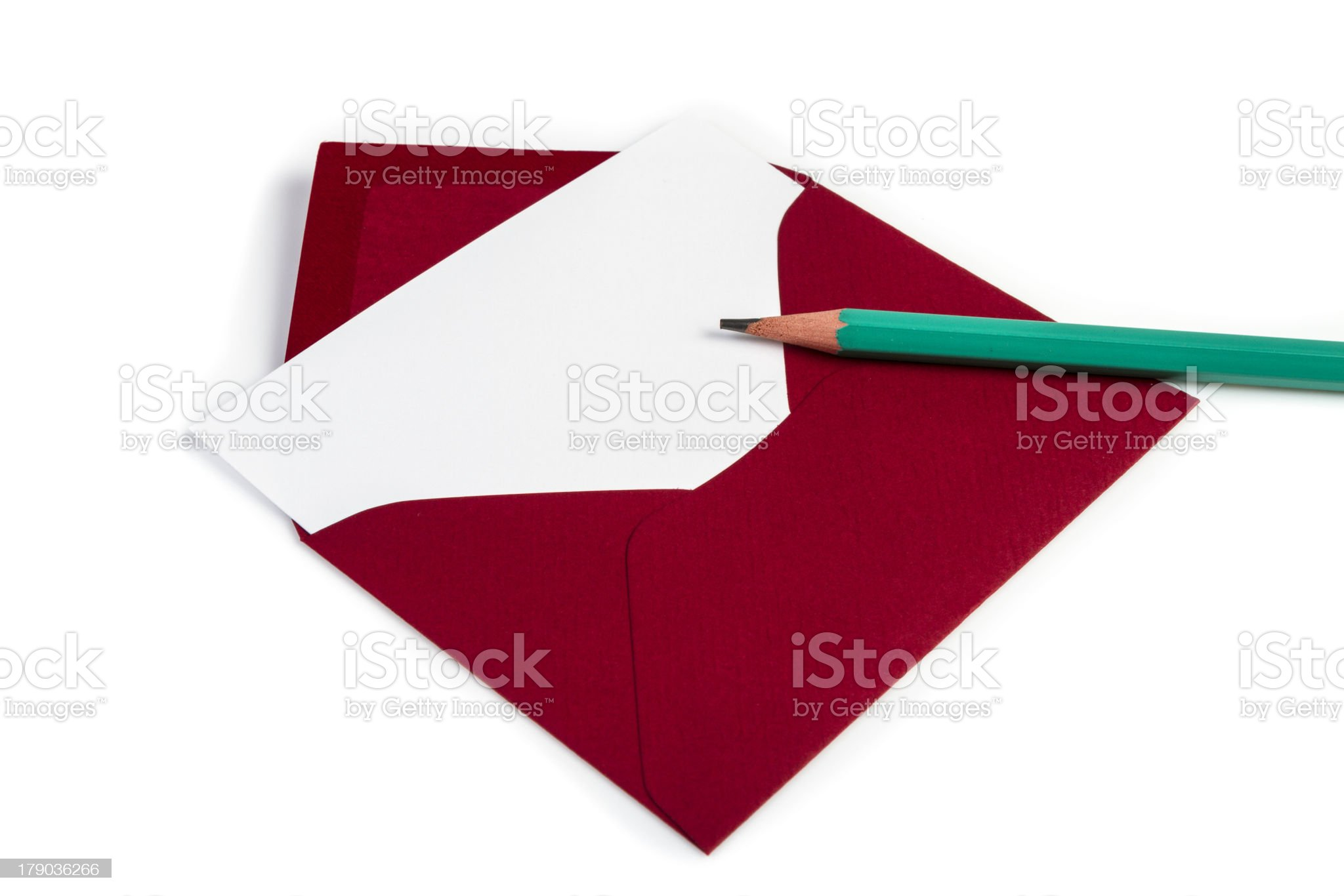 Red envelope with card and pencil (Clipping path) royalty-free stock photo