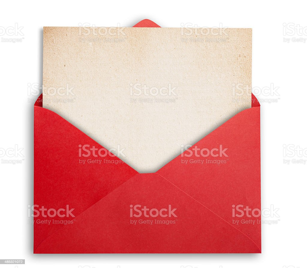 Red envelope with card. stock photo