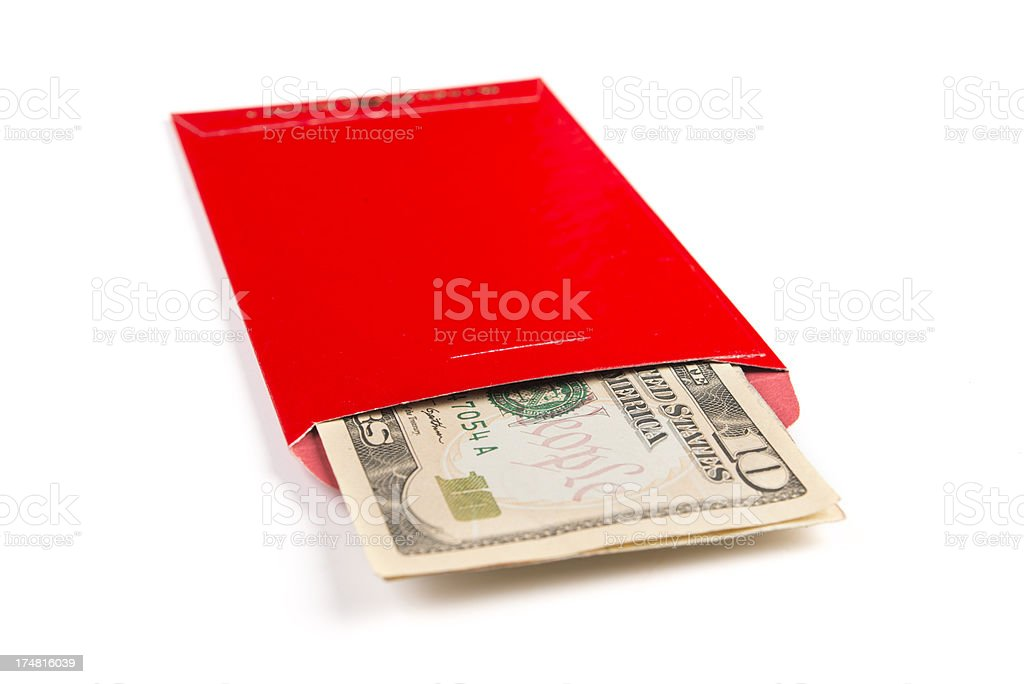 Red Envelope With US Currency stock photo