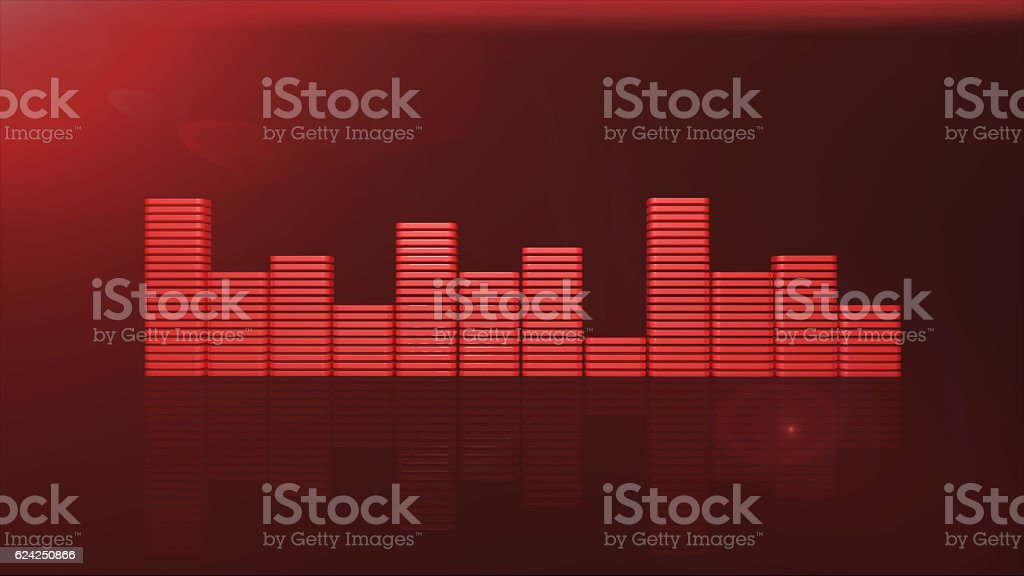 red equalizer bars 3d render stock photo