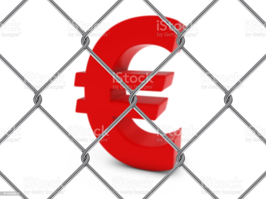 Red Euro Symbol Behind Chain Link Fence stock photo