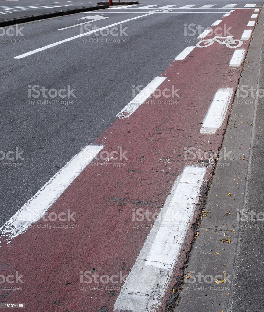 Red European Cycling Path on a Street royalty-free stock photo