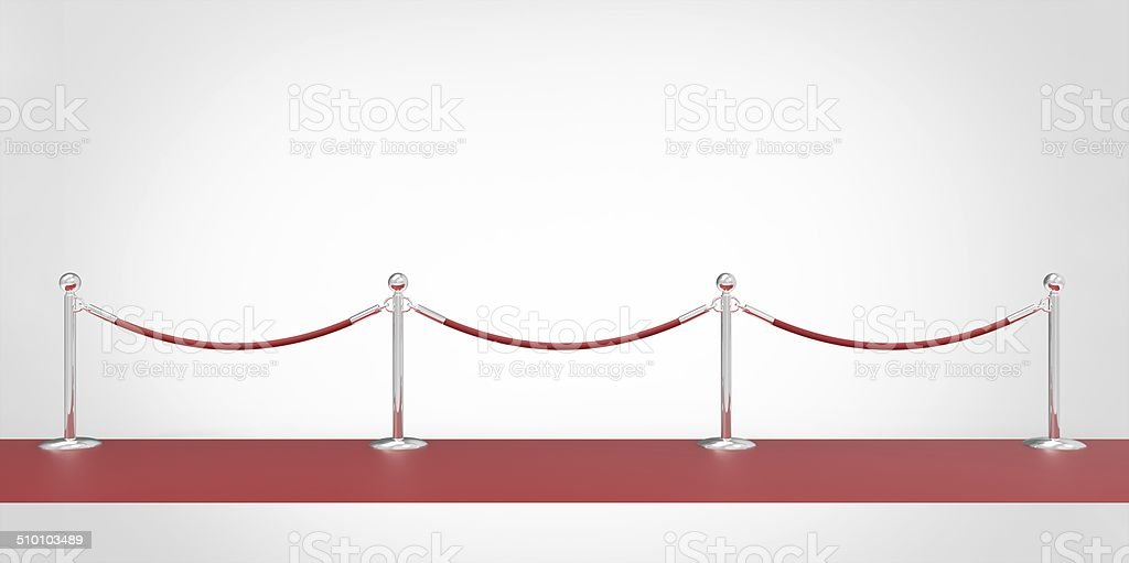 red event carpet silver chrome fence isolated on a white stock photo