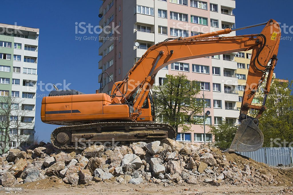 Red Excavator at work royalty-free stock photo
