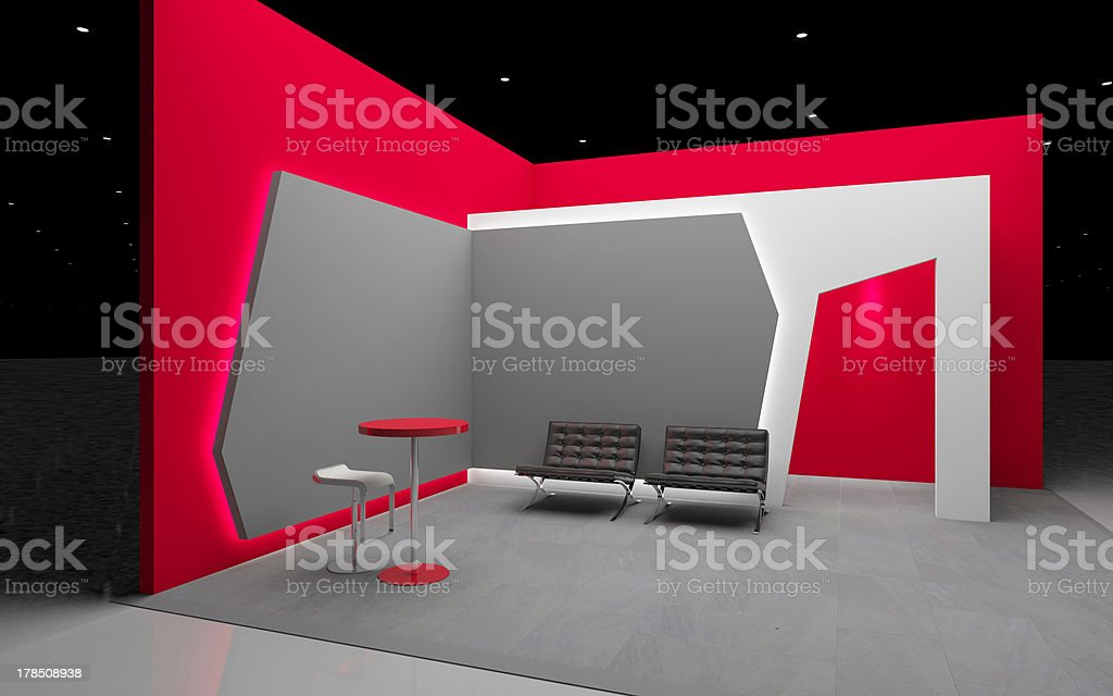 red exhibition stand stock photo