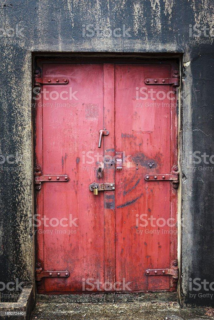 Red Explosion proof door stock photo
