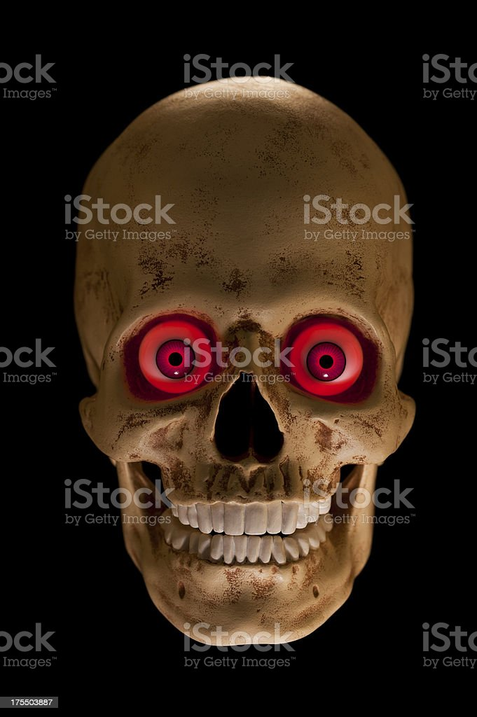 Red Eyed Spooky Human Skull royalty-free stock photo