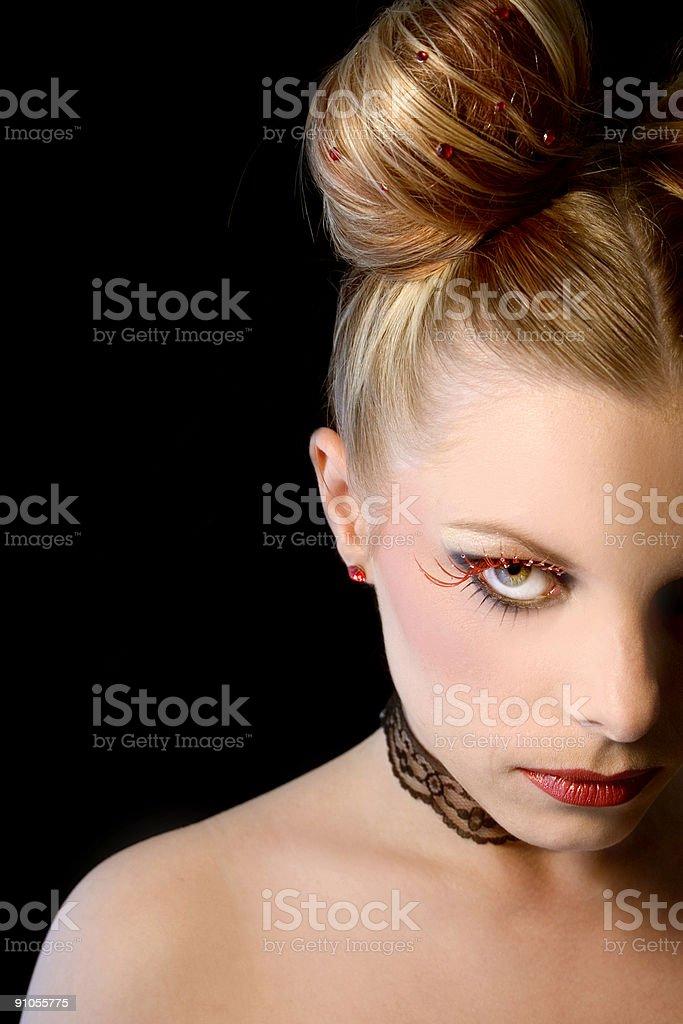Red eyelashes royalty-free stock photo