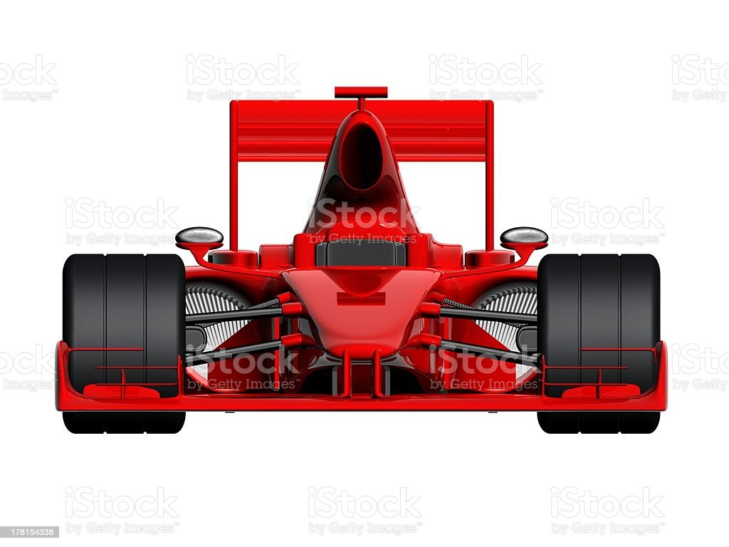 A red F1 race car with large wheels on a white background stock photo