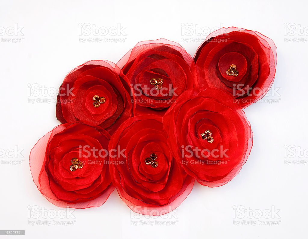 Red fabric flowers closeup royalty-free stock photo