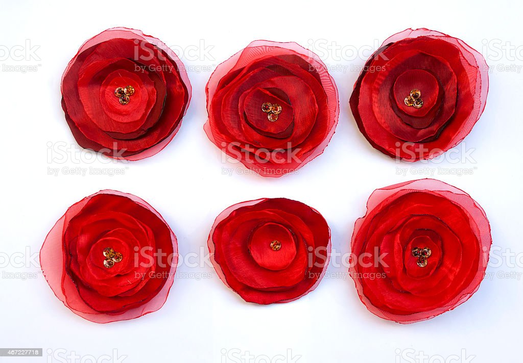 Red fabric flowers set royalty-free stock photo