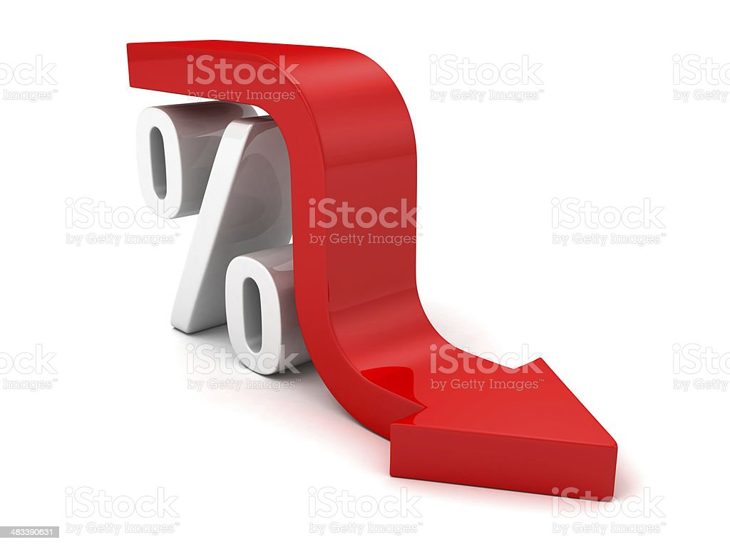 Red Fall Arrow Interest Percent Symbol. Financial Business Concept stock photo