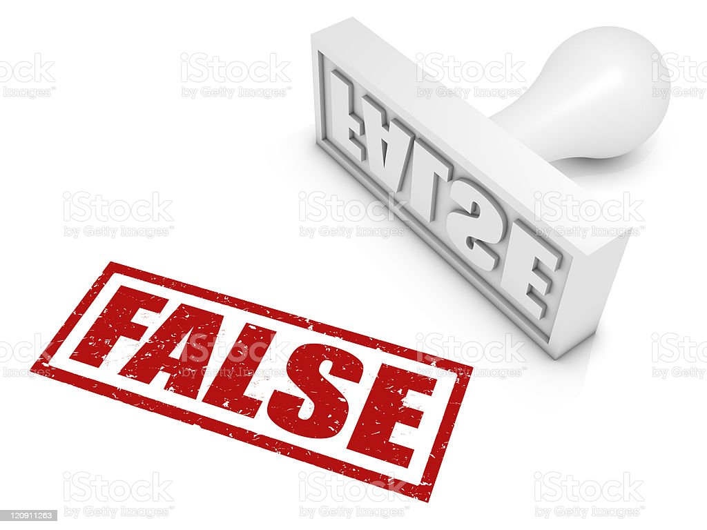 Red FALSE stamp with white rubber stamp lying next to it stock photo