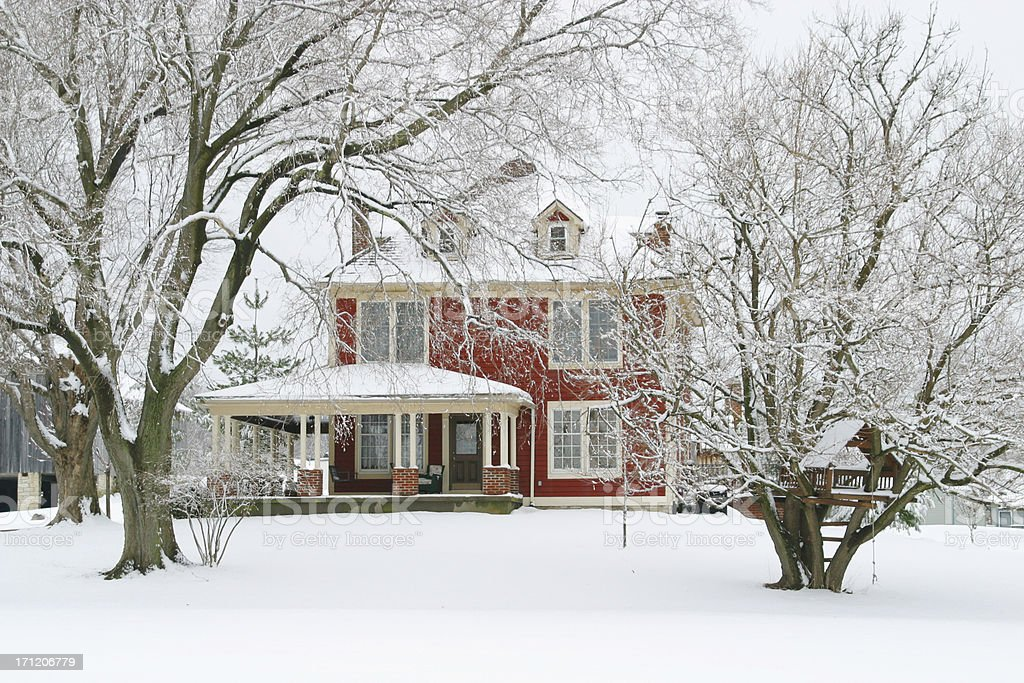 Red Farmhouse In The Winter Snow - Front royalty-free stock photo
