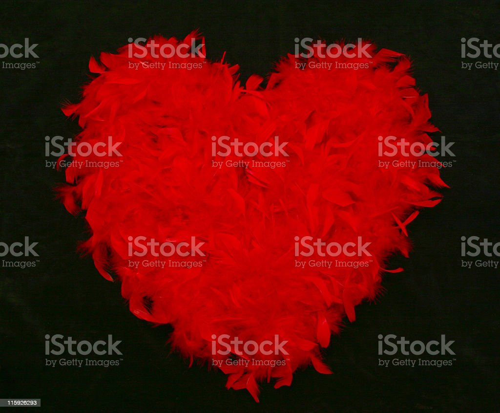 Red Feather Heart on black background royalty-free stock photo