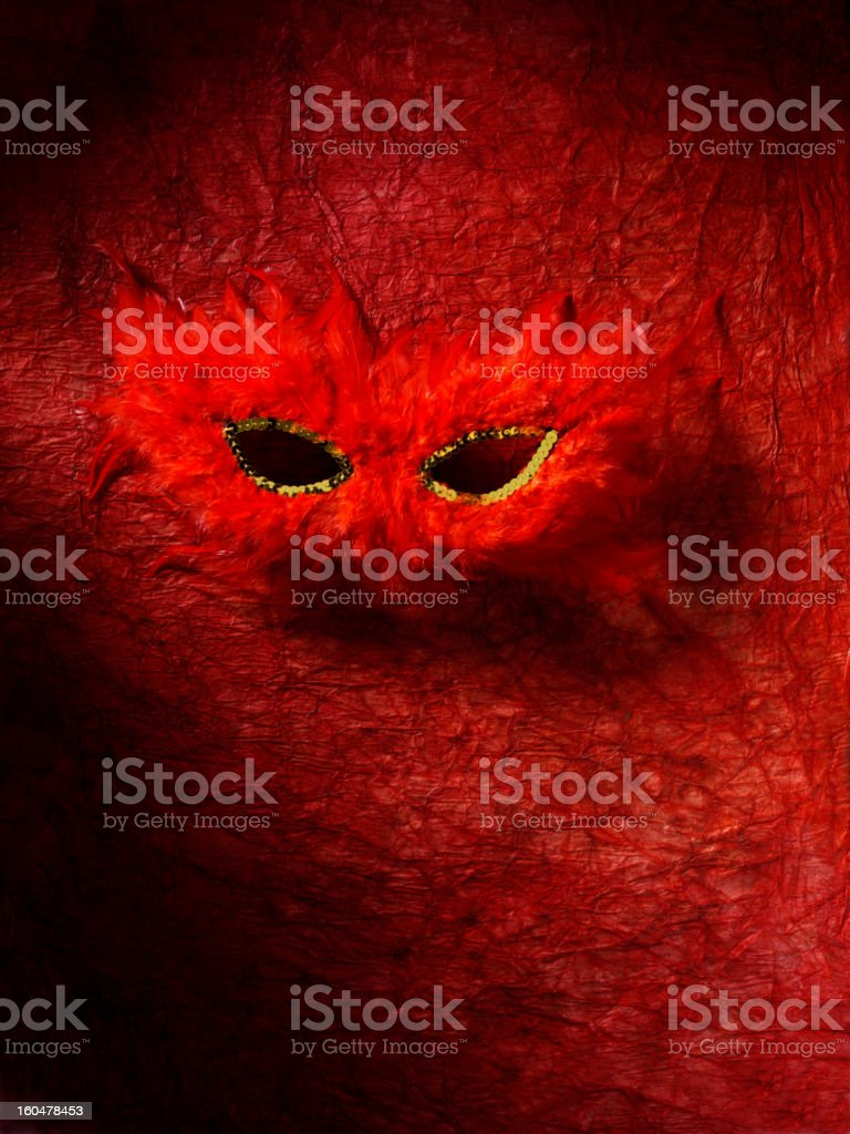Red Feather Masquerade Mask royalty-free stock photo